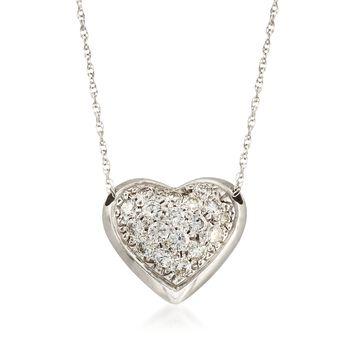 "C. 1990 Vintage 1.25 ct. t.w. Pave Diamond Heart Necklace in 14kt White Gold. 16"", , default"