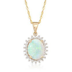 Opal and .21 ct. t.w. Diamond Pendant Necklace in 14kt Yellow Gold, , default