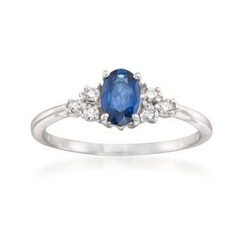 .60 Carat Sapphire and .10 ct. t.w. Diamond Ring in 14kt White Gold, , default