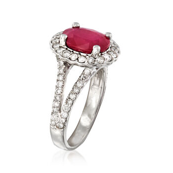 2.40 Carat Ruby and .85 ct. t.w. Diamond Ring in 14kt White Gold. Size 6.5, , default