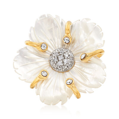 Italian Mother-Of-Pearl and .30 ct. t.w. CZ Flower Ring in 18kt Gold Over Sterling, , default
