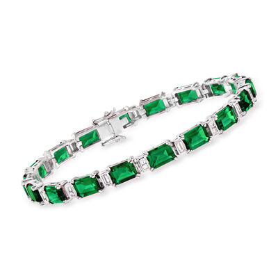 18.00 ct. t.w. Simulated Emerald and .60 ct. t.w. CZ Bracelet in Sterling Silver, , default