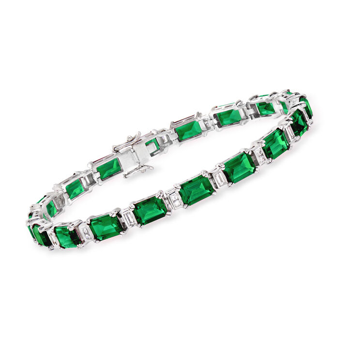 """18.00 ct. t.w. Simulated Emerald and .60 ct. t.w. CZ Bracelet in Sterling Silver. 7"""", , default"""