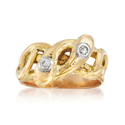 C. 1950 Vintage .12 ct. t.w. Diamond Twisted Snake Ring in 18kt Yellow Gold, , default