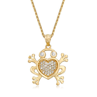 .20 ct. t.w. CZ Frog Adjustable Pendant Necklace in 14kt Two-Tone Gold