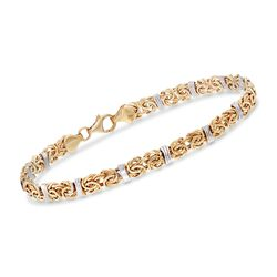 14kt Two-Tone Gold Byzantine Station Bracelet, , default