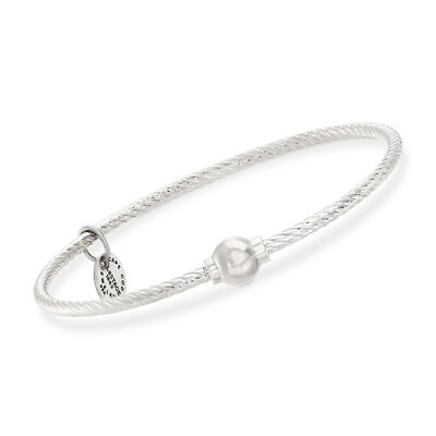 Sterling Silver Cape Cod Twisted Single Bead Bangle Bracelet, , default