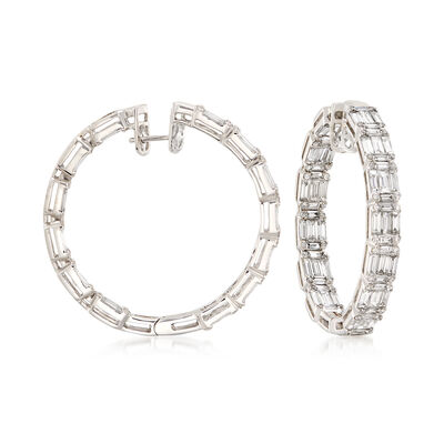 7.33 ct. t.w. Baguette and Round Diamond Hoop Earrings in 18kt White Gold, , default