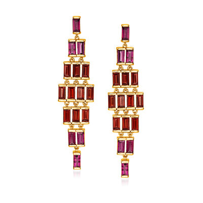 5.25 ct. t.w. Garnet and 2.70 ct. t.w. Rhodolite Garnet Drop Earrings in 18kt Gold Over Sterling
