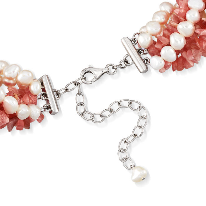 5-6mm Cultured Pearl and 3-8mm Rhodochrosite Torsade Necklace in Sterling Silver