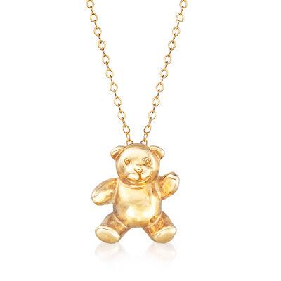 C. 1990 Vintage 14kt Yellow Gold Teddy Bear Pendant Necklace, , default