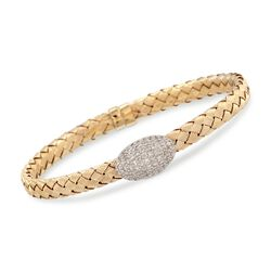 "Italian .63 ct. t.w. Diamond Bracelet in 14kt Two-Tone Gold. 7"", , default"