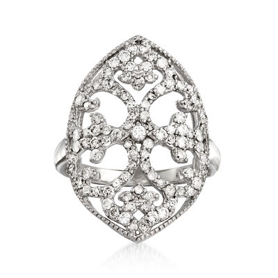 1.00 ct. t.w. Diamond Scrollwork Ring in Sterling Silver