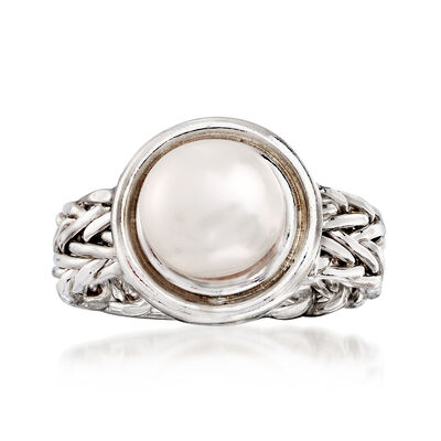 8mm Cultured Button Pearl Ring in Sterling Silver