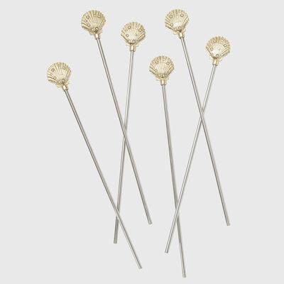 Joanna Buchanan Set of 6 Shell Swizzle Sticks
