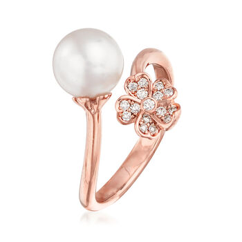 "Mikimoto ""Cherry Blossom"" 8mm A+ Akoya Pearl and .11 ct. t.w. Diamond Bypass Ring in 18kt Rose Gold. Size 6.5"