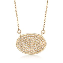 .15 ct. t.w. Pave Diamond Oval Necklace in 14kt Yellow Gold, , default