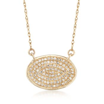 """.15 ct. t.w. Pave Diamond Oval Necklace in 14kt Yellow Gold. 18"""", , default"""