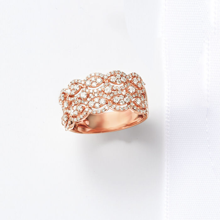 1.00 ct. t.w. Diamond Multi-Row Ring in 14kt Rose Gold