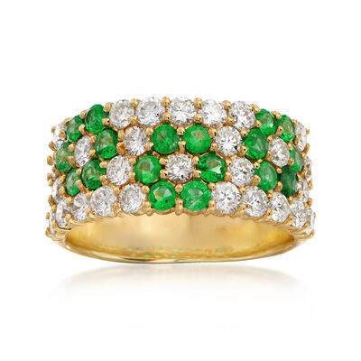 C. 1990 Vintage 1.24 ct. t.w. Diamond and .74 ct. t.w. Emerald Flower Ring in 18kt Yellow Gold, , default