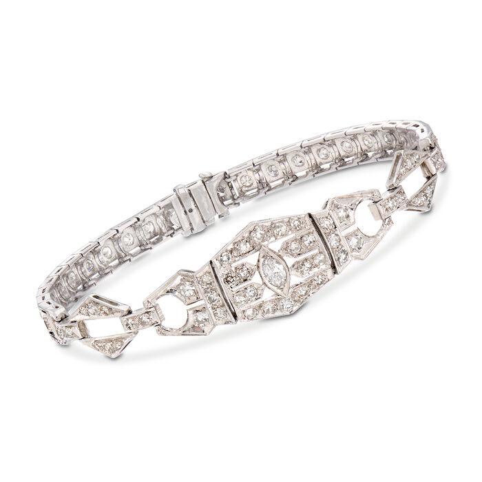 "C. 1950 Vintage 1.90 ct. t.w. Diamond Bracelet in Platinum. 6.75"""