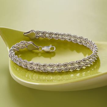 Sterling Silver Double Rope Chain Bracelet, , default