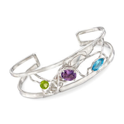3.90 ct. t.w. Multi-Stone Cuff Bracelet in Sterling Silver, , default