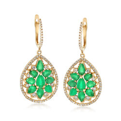 3.10 ct. t.w. Emerald and .67 ct. t.w. Diamond Drop Earrings in 14kt Yellow Gold, , default