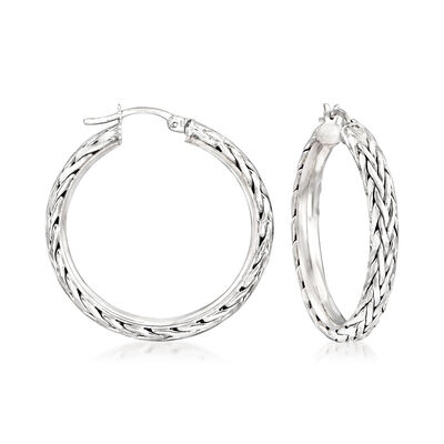 Wheat-Link Style Hoop Earrings in Sterling Silver, , default
