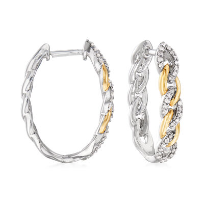 .30 ct. t.w. Diamond Link Hoop Earrings in Sterling Silver and 18kt Gold Over Sterling