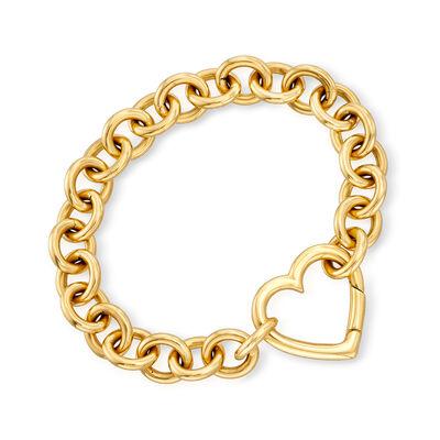 C. 1980 Vintage Tiffany Jewelry 18kt Yellow Gold Heart Link Bracelet, , default
