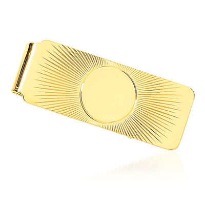 14kt Yellow Gold Polished Three-Initial Engravable Men's Money Clip, , default