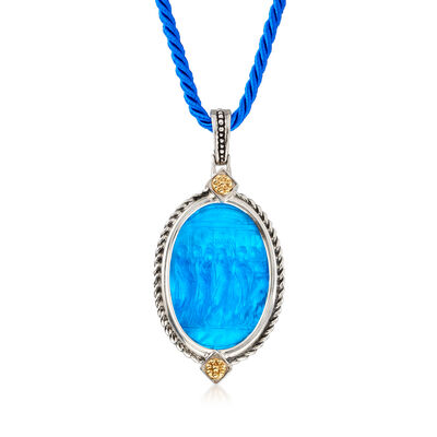 Italian Blue Glass and Mother-Of-Pearl Venetian Cameo Pendant Necklace with Antiqued Silk Cord, , default