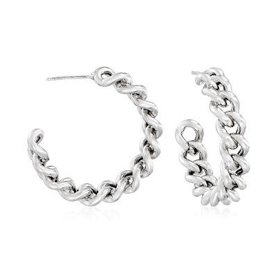Italian Sterling Silver Curb-Link C-Hoop Earrings