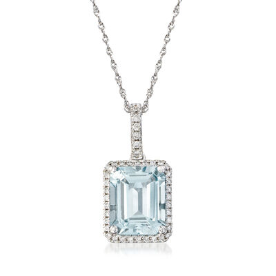 2.90 Carat Aquamarine and .17 ct. t.w. Diamond Pendant Necklace in 14kt White Gold, , default