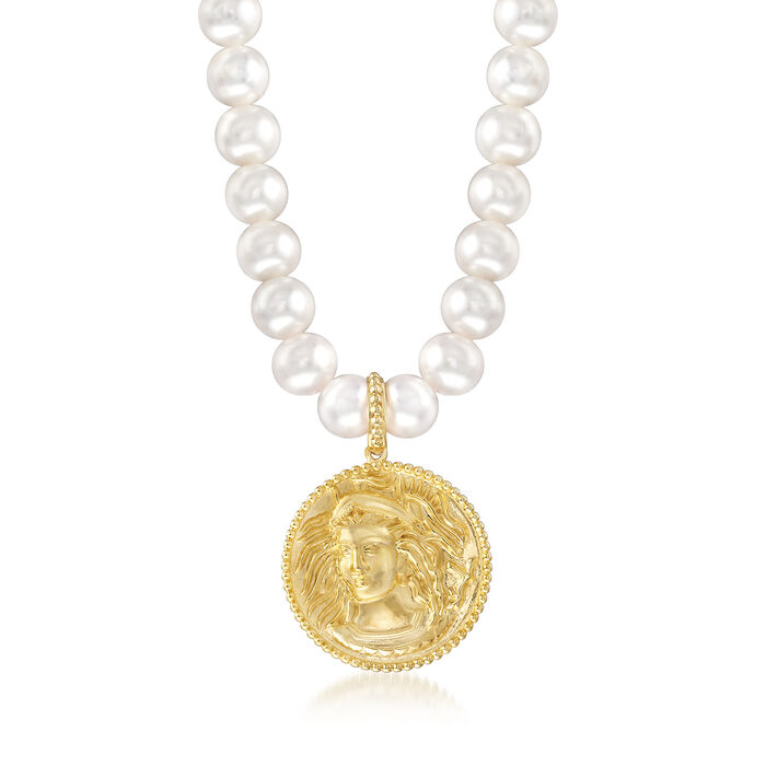 Italian 8-8.5mm Cultured Pearl Medusa Necklace in 18kt Yellow Gold Over Sterling Silver