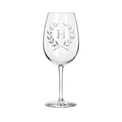 Personalized Laurel Wreath Set of 4 Wine Glasses, , default