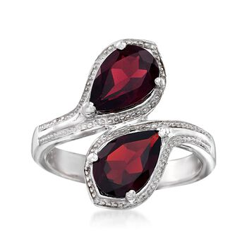 2.40 ct. t.w. Pear-Shaped Garnet Bypass Ring in Sterling Silver, , default
