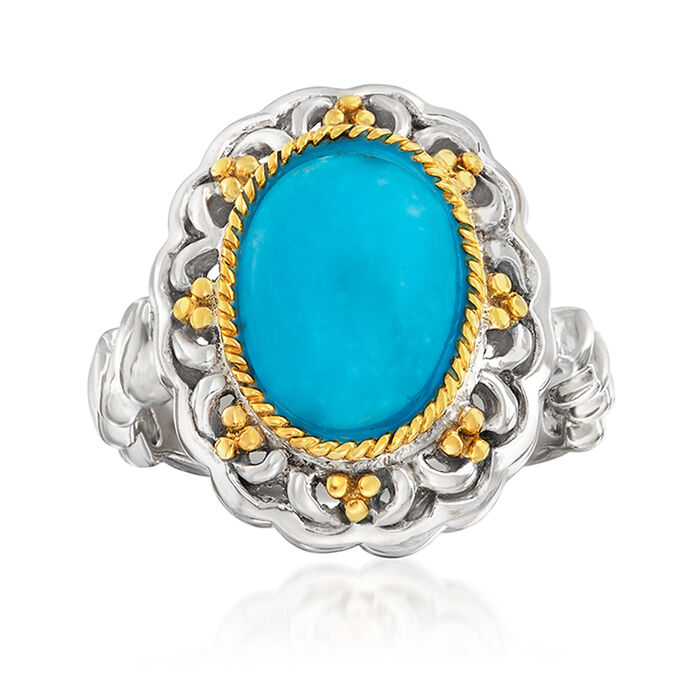 Turquoise Ring in Sterling Silver and 14kt Yellow Gold