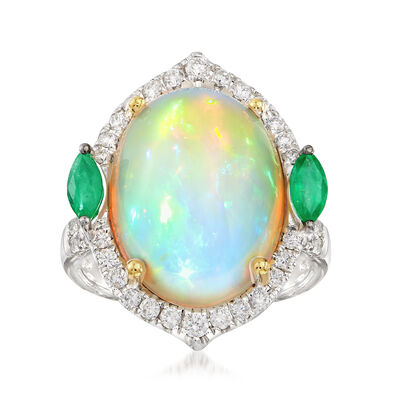 Oval Opal Cabochon Ring with .62 ct. t.w. Diamonds and .40 ct. t.w. Emeralds in 18kt Two-Tone Gold