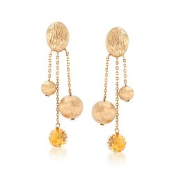 7.00 ct. t.w. Citrine and 14kt Yellow Gold Bead Drop Earrings , , default