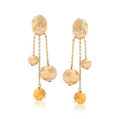 7.00 ct. t.w. Citrine and 14kt Yellow Gold Bead Drop Earrings, , default