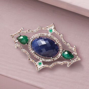 12.00 Carat Sapphire, 2.38 ct. t.w. Emerald and 1.20 ct. t.w. Champagne Diamond Pin in Sterling Silver