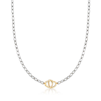 Italian Sterling Silver and 14kt Yellow Gold Interlocking Heart Necklace, , default