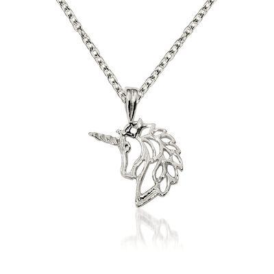 "Sterling Silver Polished Unicorn Charm Necklace. 18"", , default"