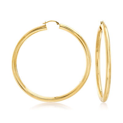 Andiamo 14kt Yellow Gold Large Hoop Earrings