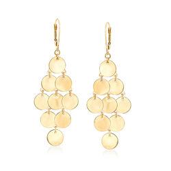 14kt Yellow Gold Multi-Disc Drop Earrings, , default