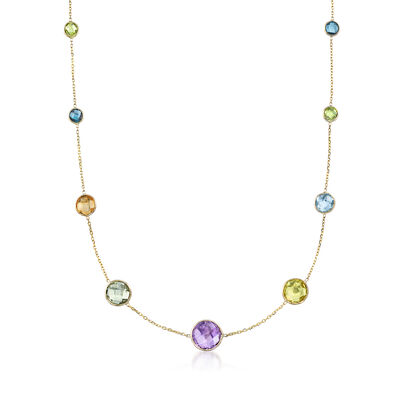 53.70 ct. t.w. Multi-Stone Bezel-Set Necklace in 14kt Yellow Gold, , default
