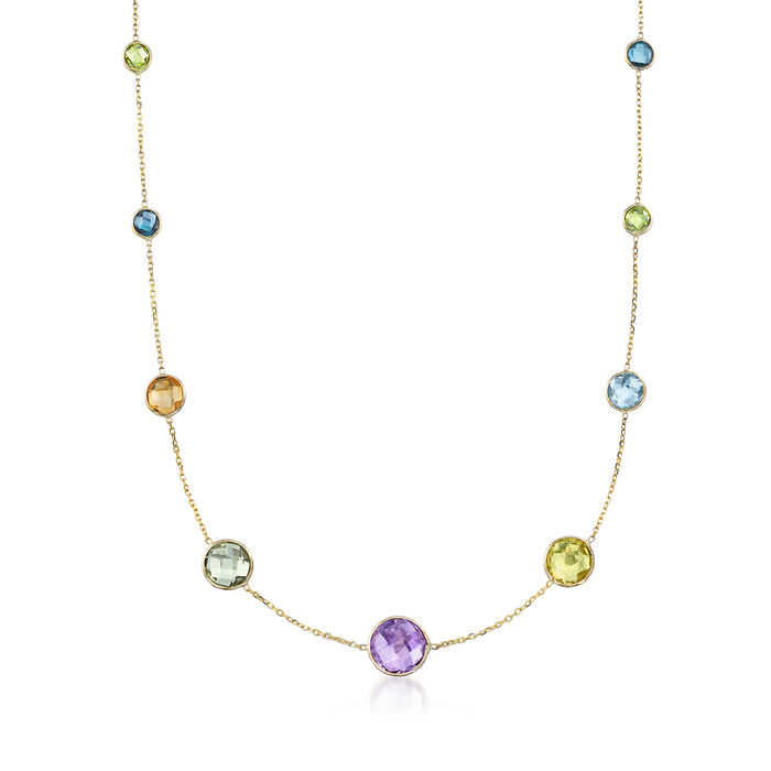 """53.70 ct. t.w. Multi-Stone Bezel-Set Necklace in 14kt Yellow Gold. 36"""", , default"""