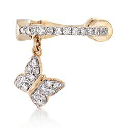 .13 ct. t.w. Diamond Butterfly Single Ear Cuff in 14kt Yellow Gold , , default
